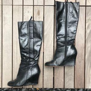 Nine West | Black Knee High Wedge Heel Boots